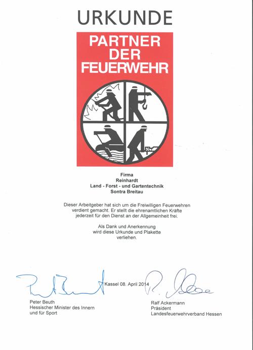 Reinhardt Partner der Feuerwehr