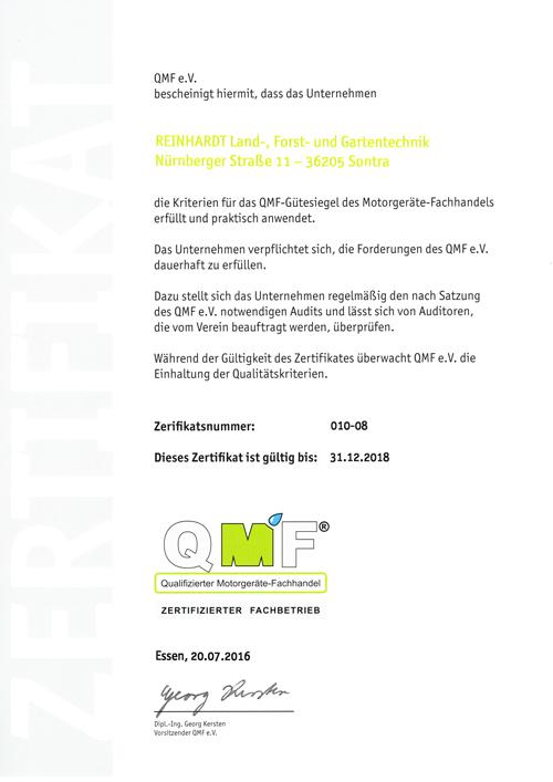Reinhardt Breitau CMF zertifiziert