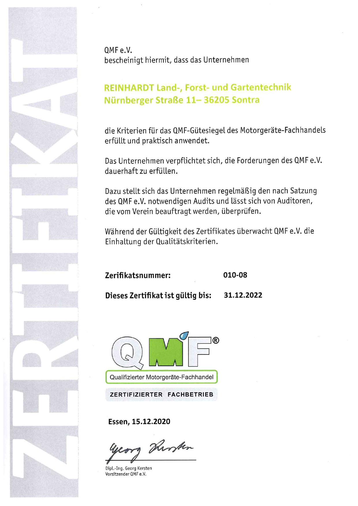 QMF Zertifikat Breitau 2022