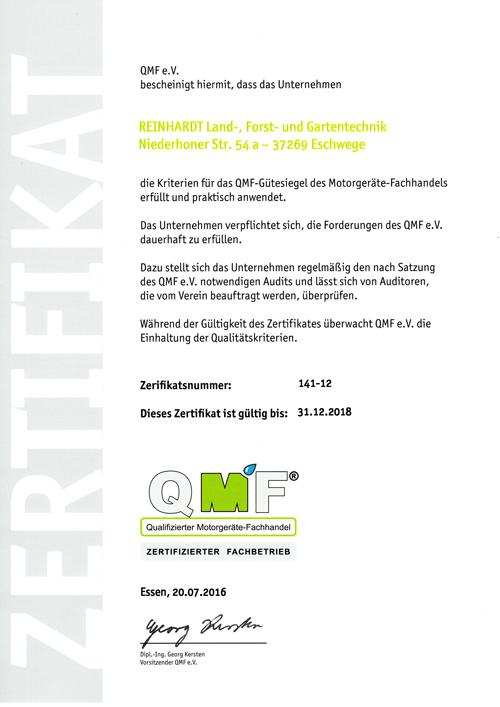 Reinhardt Eschwege CMF zertifiziert