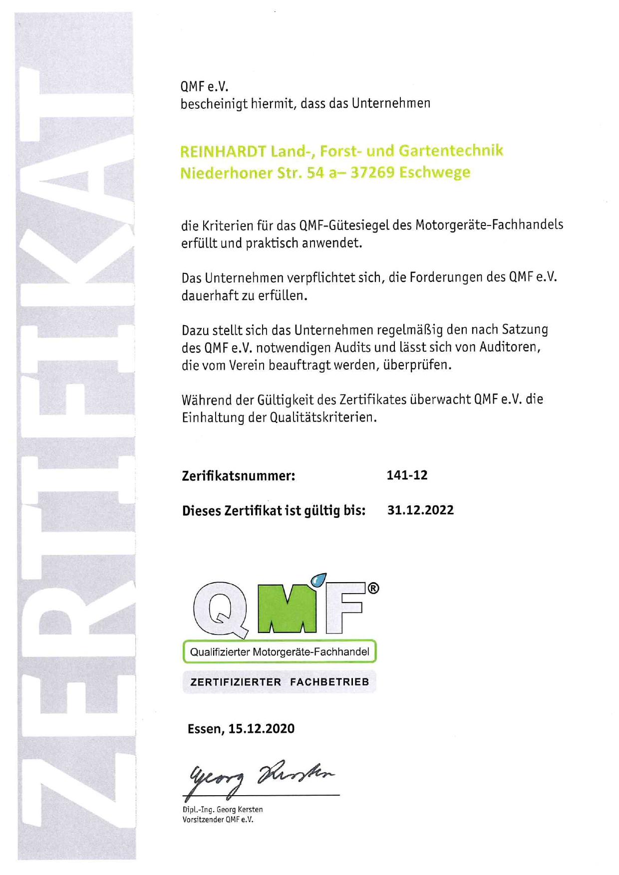 QMF Zertifikat Eschwege 2022