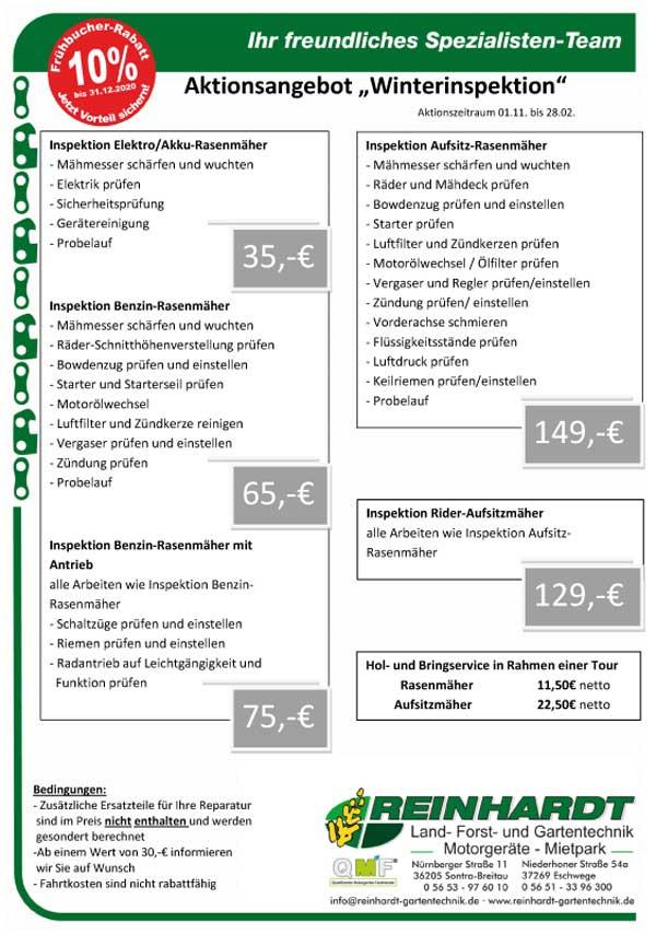 Winterinspektion Motorgeräte bei Reinhardt GArtentechnik in Eschwege und Sontra
